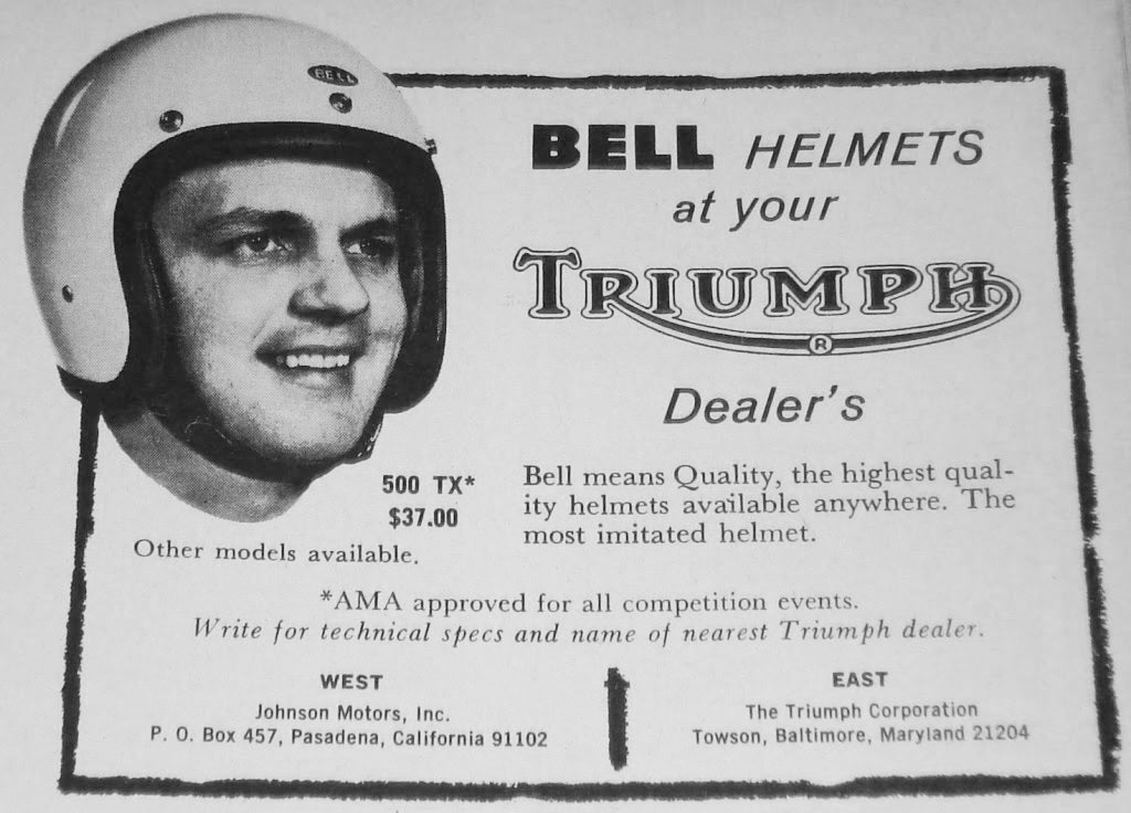"""A vintage advertisement - """"Bell Helmets at your local Triumph Dealer's"""" They retailed for only $37 dollars back then."""