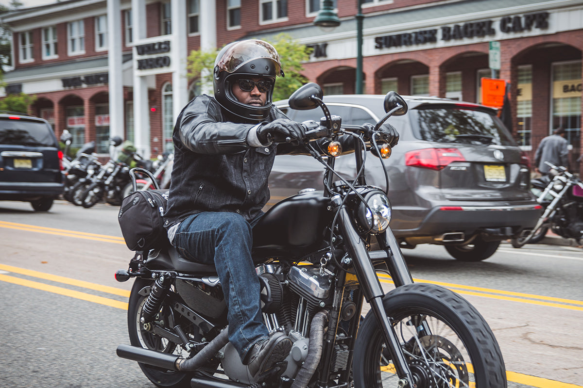 Bell Bullitt worn by many, this rider captured wearing The Matte Black version at The Gypsy Run 2015