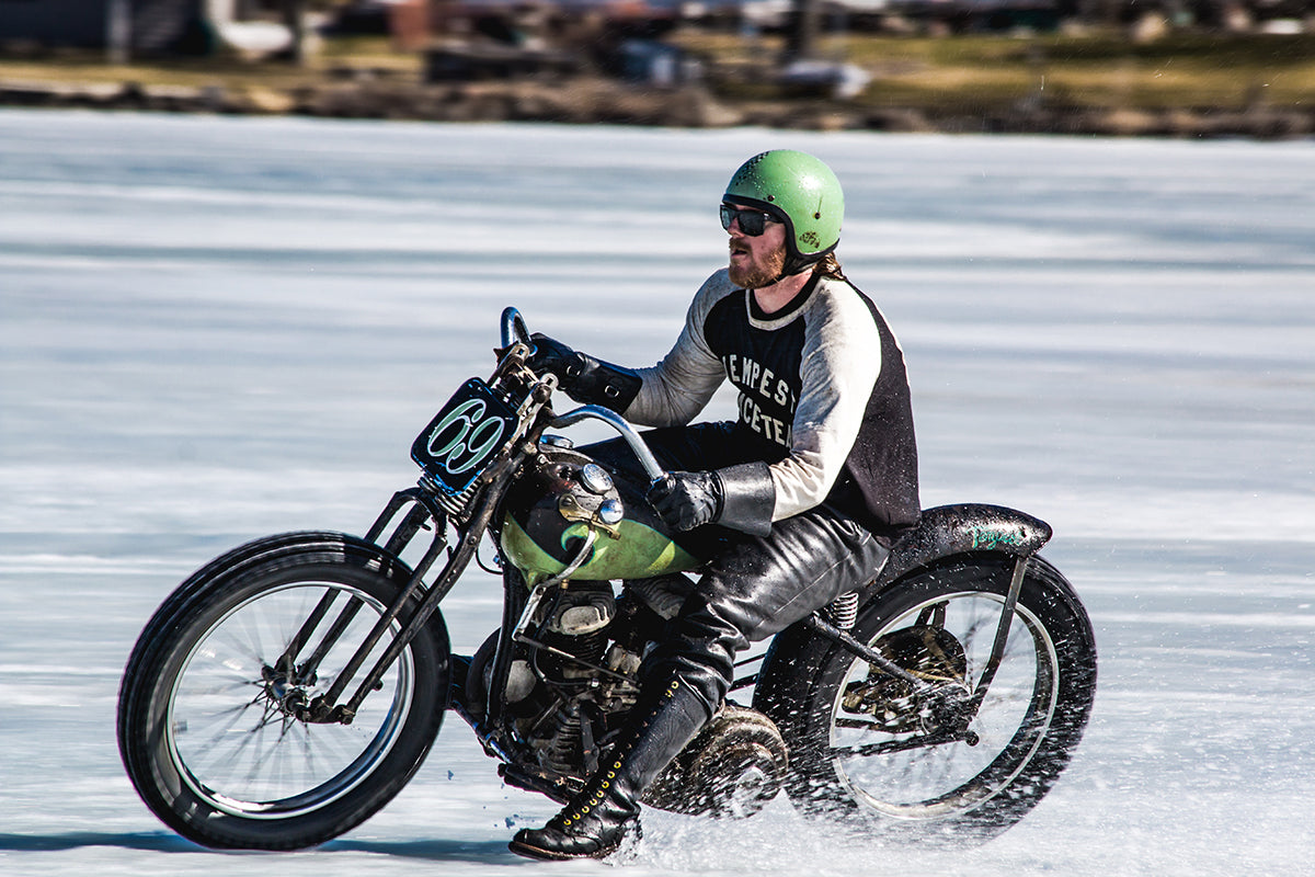 Daniel Desoucey #69 ripping around on his Flathead. - Lowbrow Customs - Mama Tried 2017