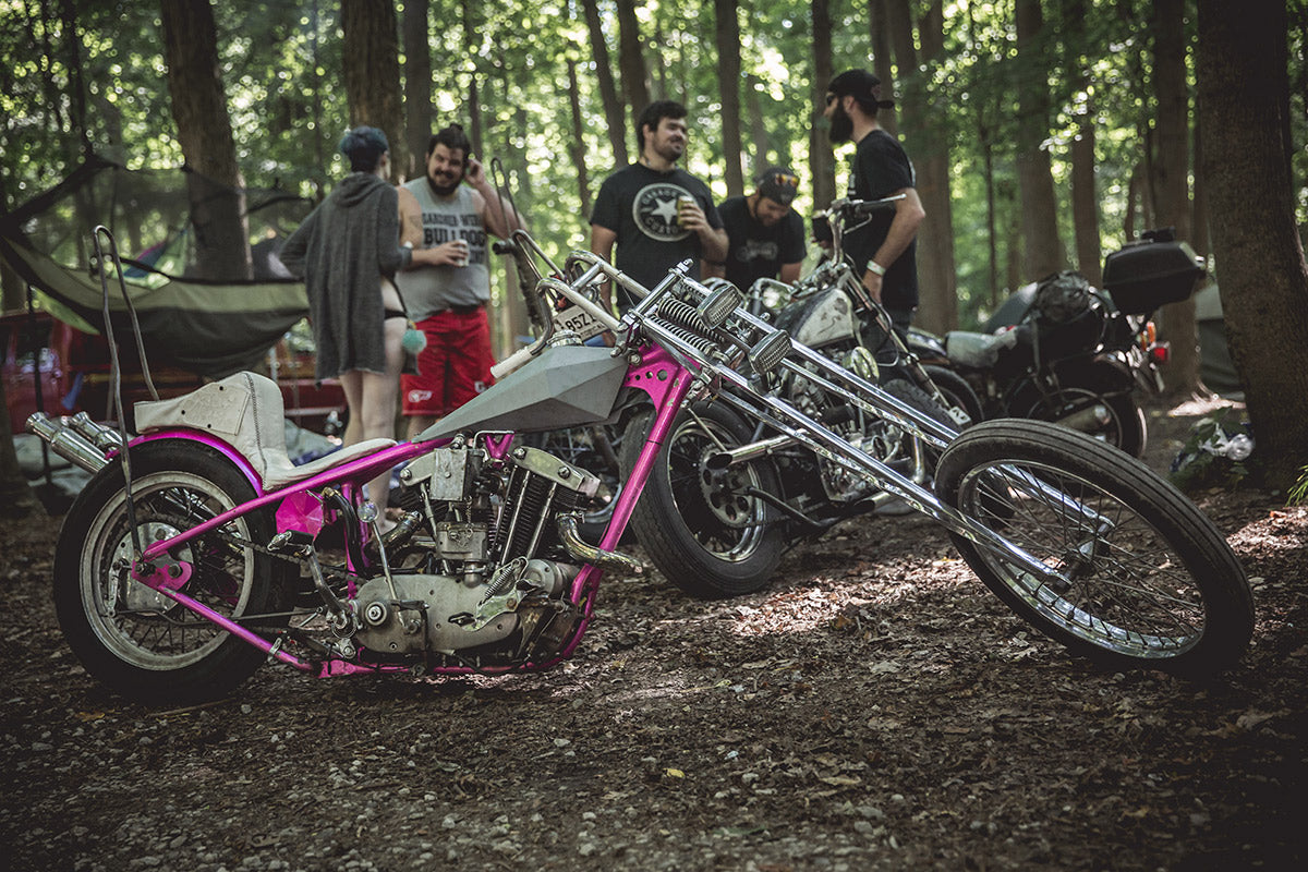 """""""If it ain't long it's wrong."""" This Harley-Davidson Ironhead is lean, mean, and the handlebars are pretty crazy too. Built by Tyler Porter. Lowbrow Getdown 2016"""