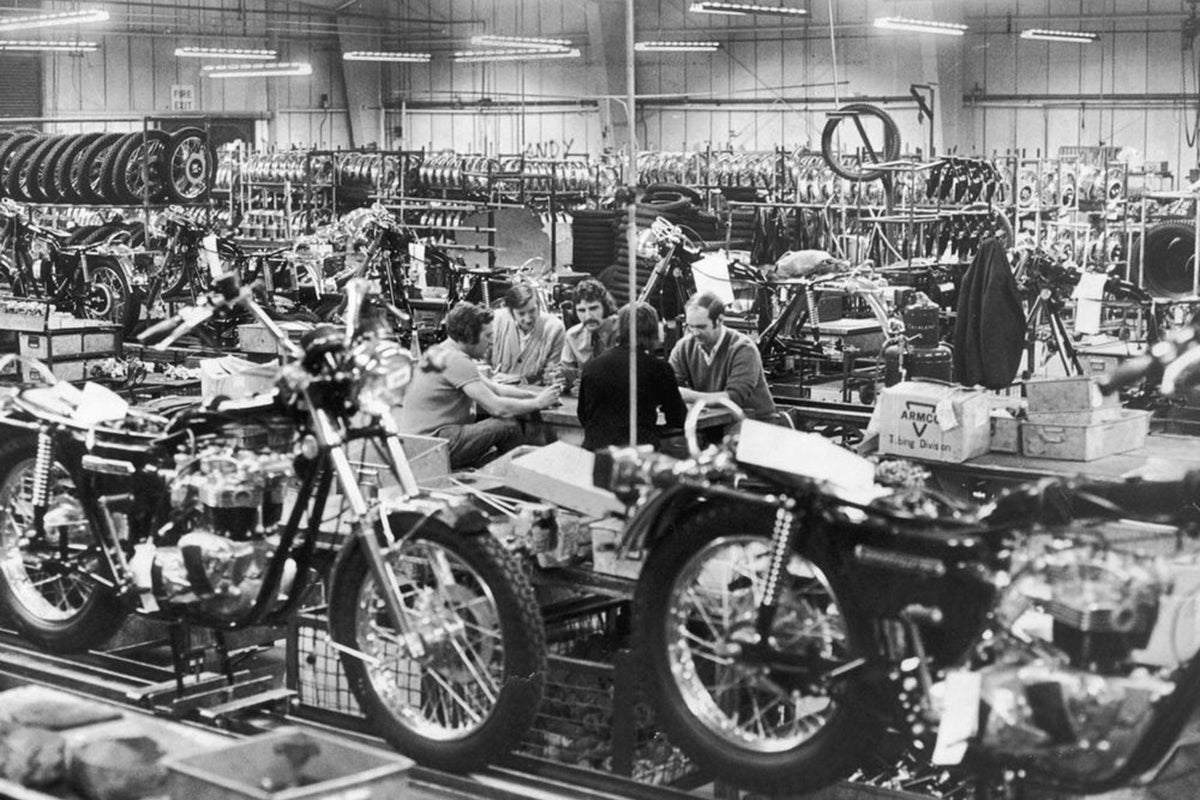 Inside the Triumph factory in Meriden. Lowbrow Customs, The History of Triumph Motorcycles