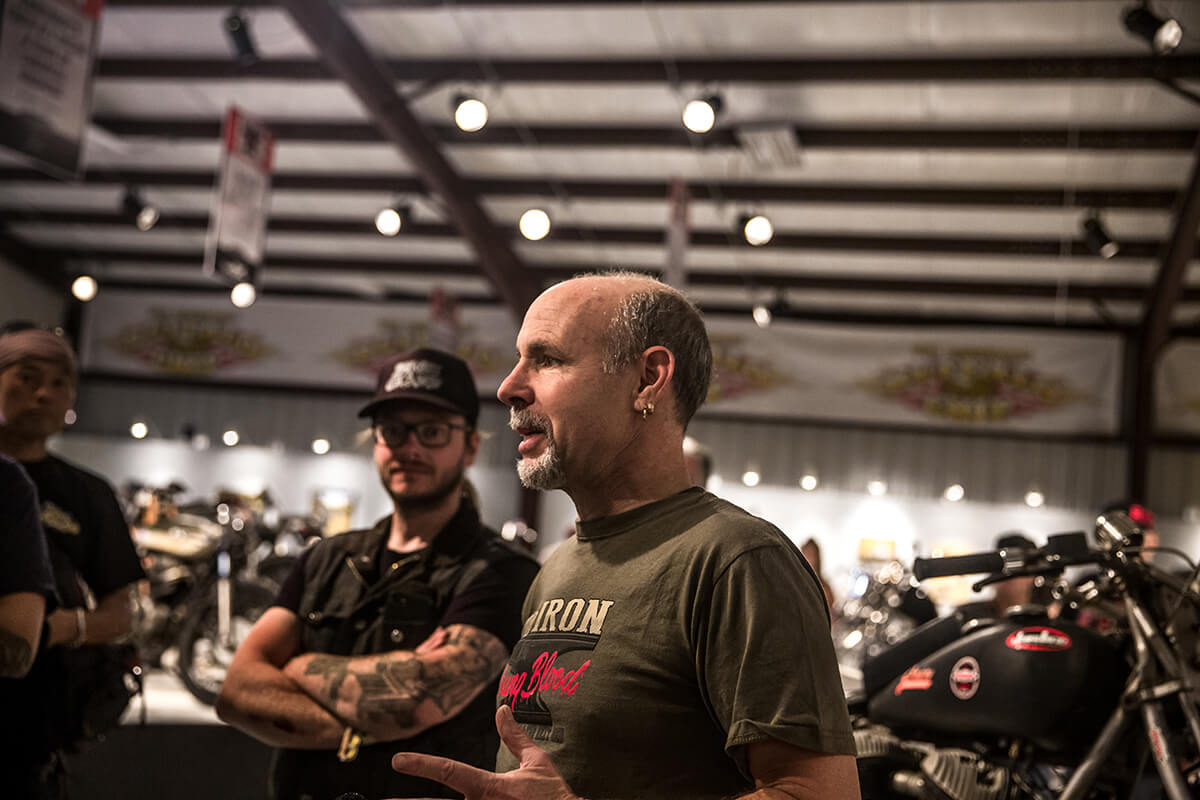 The man, the myth, the legend... Michael Lichter. This was the first time I have ever seen this man not wearing 3 or more cameras over his neck and a ton of equipment hanging from his belt and hands. He's one of the hardest working people in the industry. - Lowbrow Customs - Old Iron, Young Blood