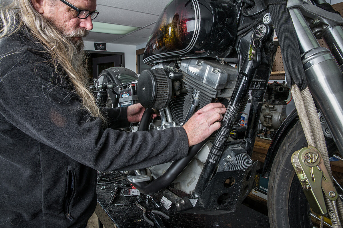 Install the pipes onto the cylinder heads loosely. - Lowbrow Customs - 2 into 1 by Kerker How to Install on Dyna