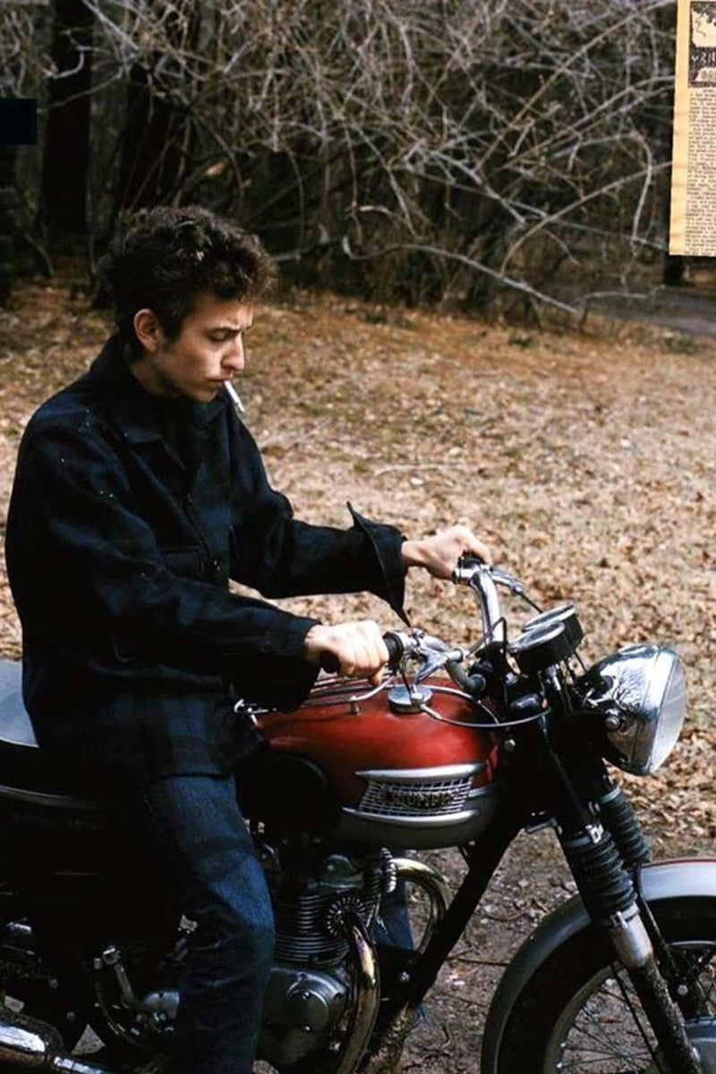 Bob Dylan on one of his Triumphs. Famous motorcycle riders