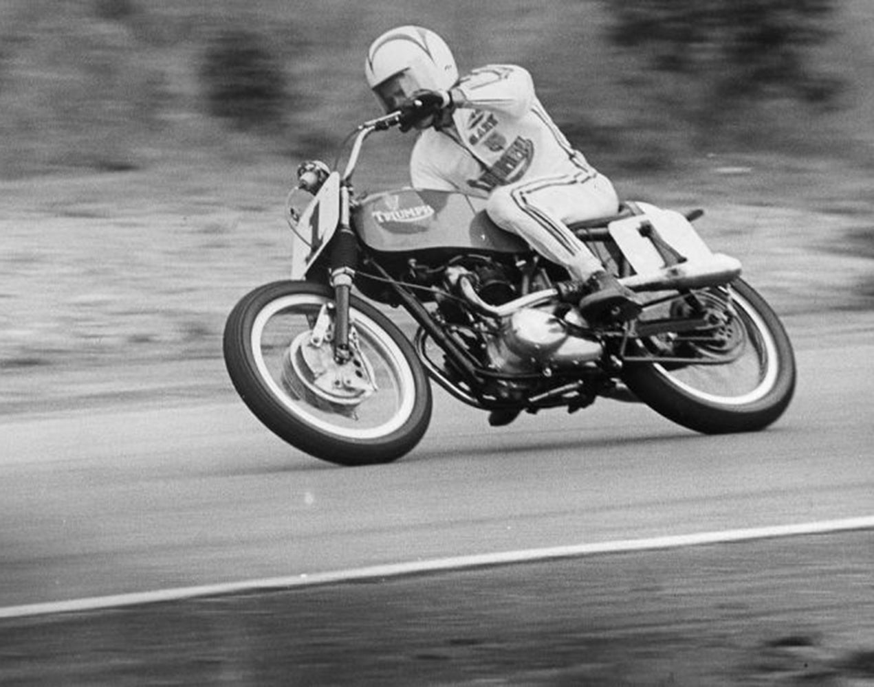 1967-68 Daytona winner and AMA Grand National champion, Gary Nixon, on a Triumph 500. Lowbrow Customs, The History Of Triumph Motorcycles