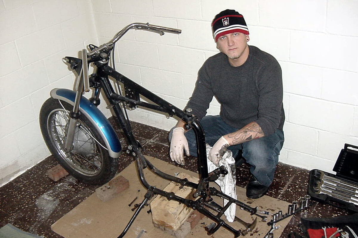 My brother Kyle helping work on my 1970 Triumph in the basement of my house in Parma, circa 2002. Kyle started working for Lowbrow in 2009 and is now President of the company.