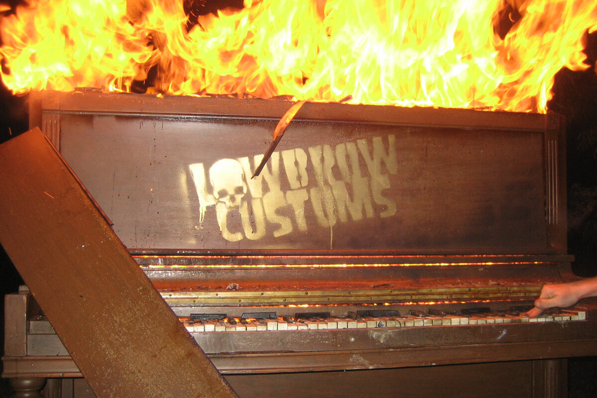- In addition to burning a giant wood robot full of fireworks we also burned a piano.