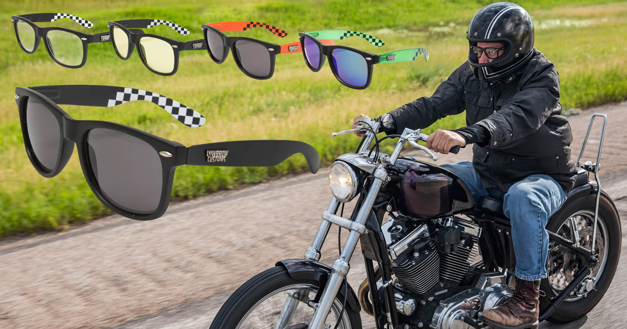 Lowbrow Customs Motorcycle Riding Sunglasses and Clears