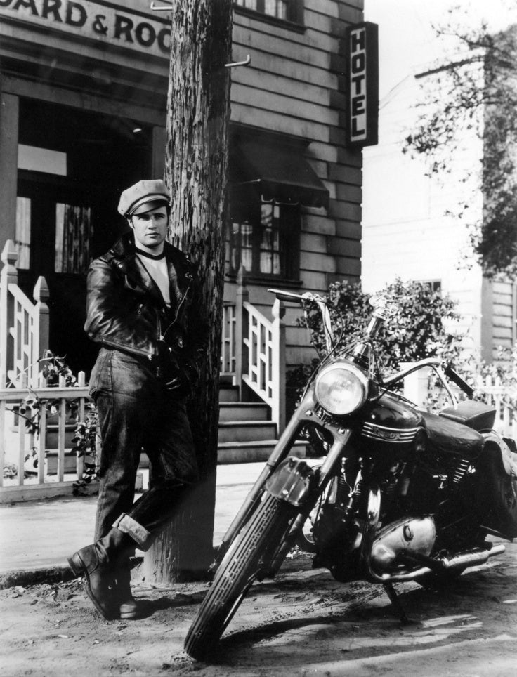"""Marlon Brando with his Triumph 6T for the movie """"The Wild Ones"""". Lowbrow Customs, The History Of Triumph Motorcycles"""