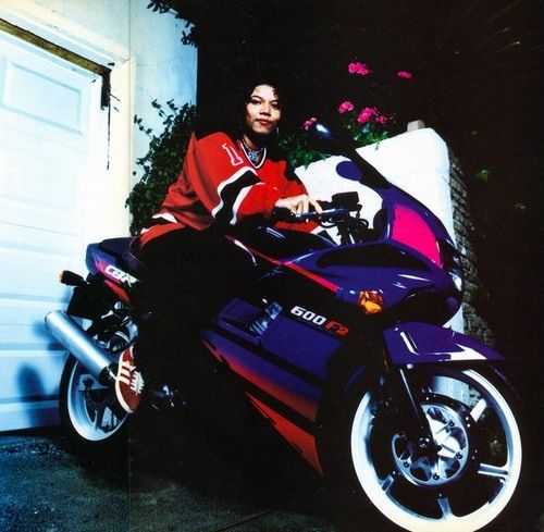 Queen Latifah on a Cbr 600 back in the day. Famous motorcycle riders