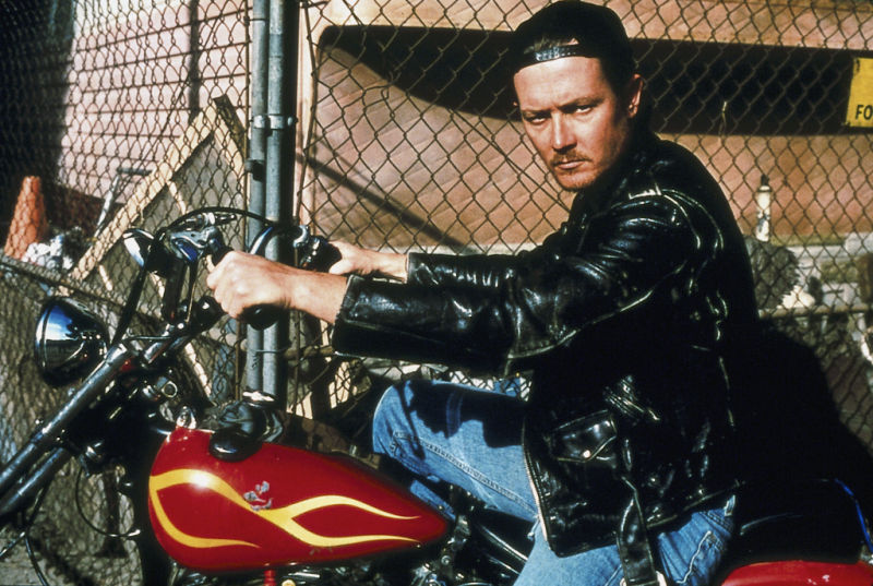 Robert Patrick on a chopper mid 90's. Famous motorcycle riders