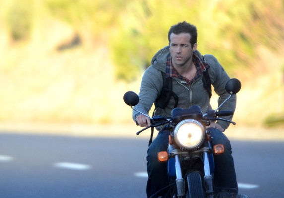 Ryan Reynolds riding one of his many motorcycles. Famous motorcycle riders