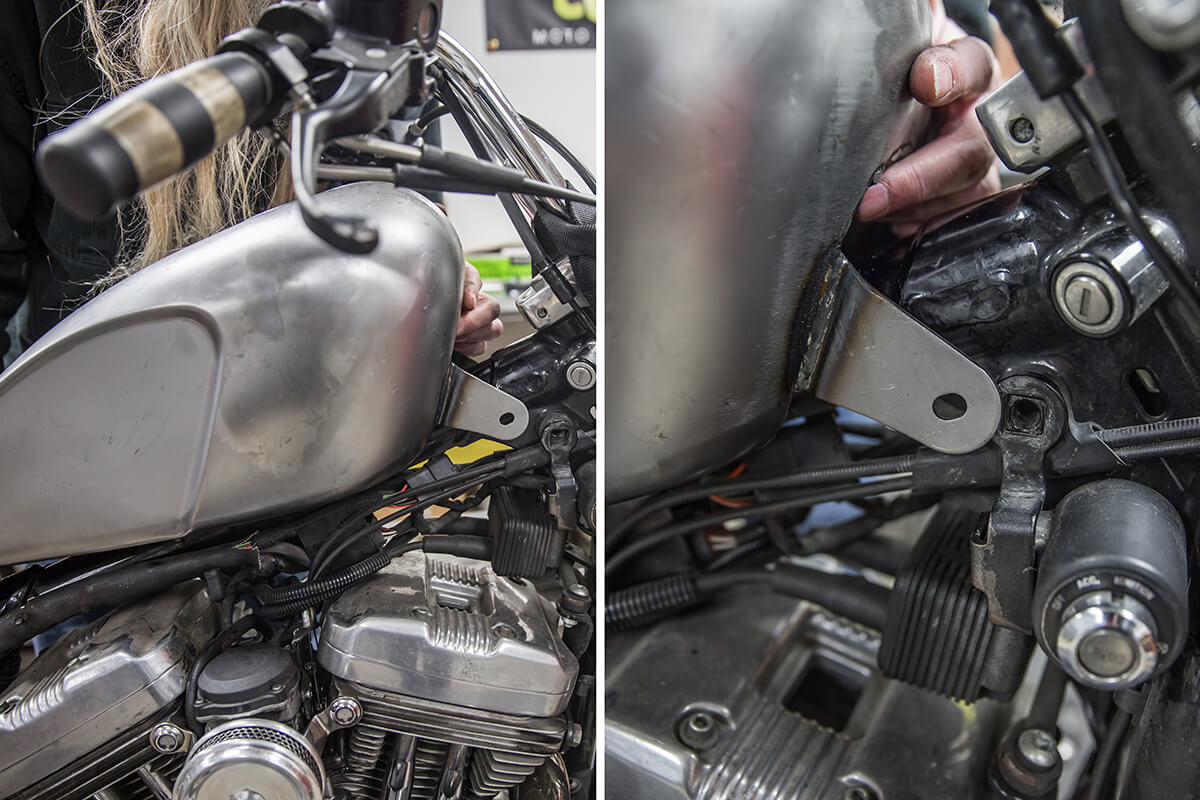 When installing the Blackbird Slimline Gas tank, be sure the coil bracket is in between the front tank tabs. How to install: Cycle Standard Blackbird Gas Tanks on Harley-Davidson Sporster - Lowbrow Customs
