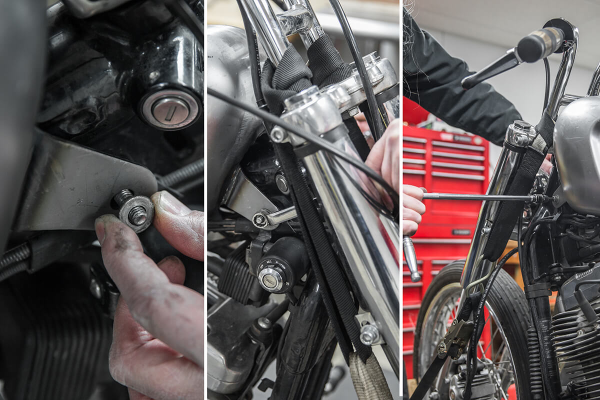 Using the stock hardware secure the front of the tank. How to install: Cycle Standard Blackbird Gas tanks - Lowbrow Customs