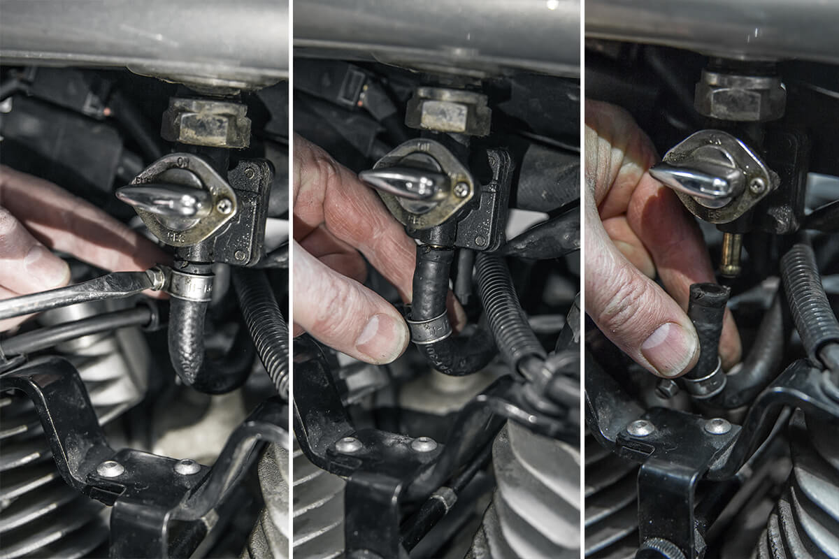 Remove the fuel line from the petcock. How to install: Cycle Standard Blackbird Gas tanks - Lowbrow Customs