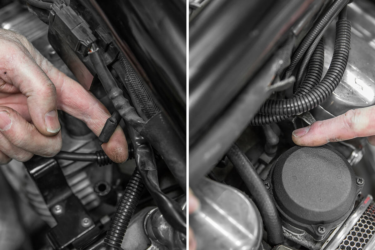 Remove vacuum line from carburetor if replacing petcock and plug hole with a rubber plug. How to install: Cycle Standard Blackbird Gas tanks - Lowbrow Customs