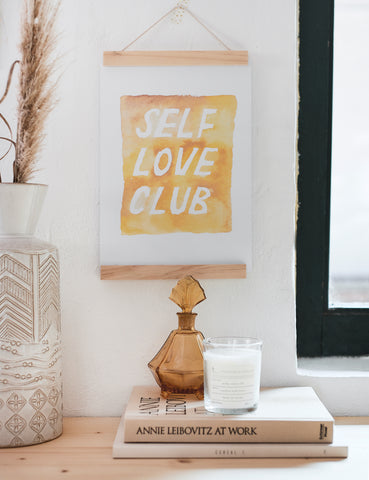 "Aquarell Lettering Poster ""Self love club"""