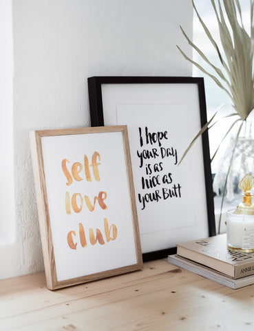 "Brush Lettering Poster ""Self love club"""