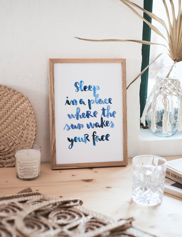 "Brush Lettering Poster ""Sleep in a place"""
