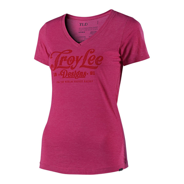 Women's Spiked V-Neck T-Shirt - Pink by Troy Lee Designs