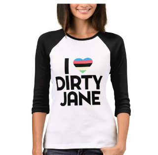 I HEART DIRTY JANE - Dirty Jane 3/4 Sleeve Raglan T-Shirt