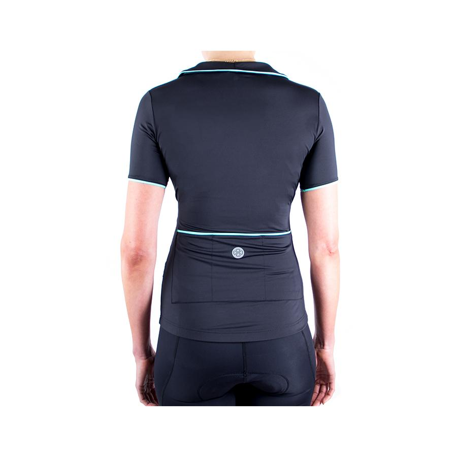 Wrapture Cycling Jersey Black/Teal by Lexi Miller