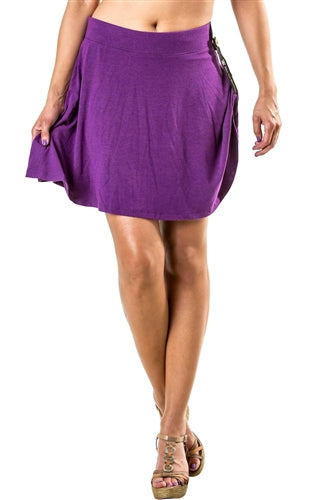 Hitchable Flounce Skirt - Wider, Lower Waist - Purple by Bikie Girl Bloomers