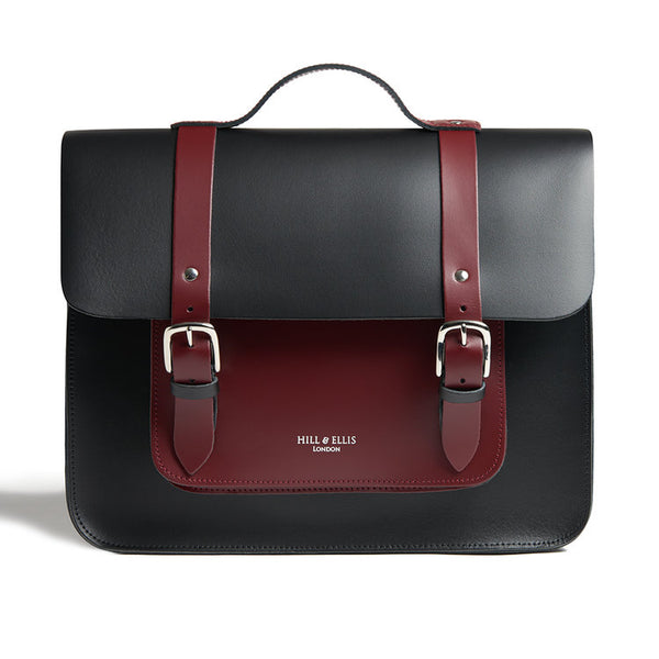 ALFIE - Oxblood Red & Black Satchel Bike Bag by Hills & Ellis