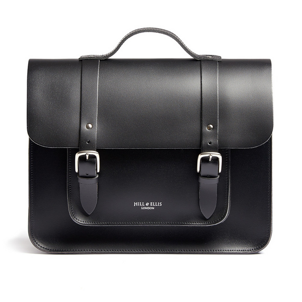 BYRON Black Leather Bike Bag by Hills & Ellis