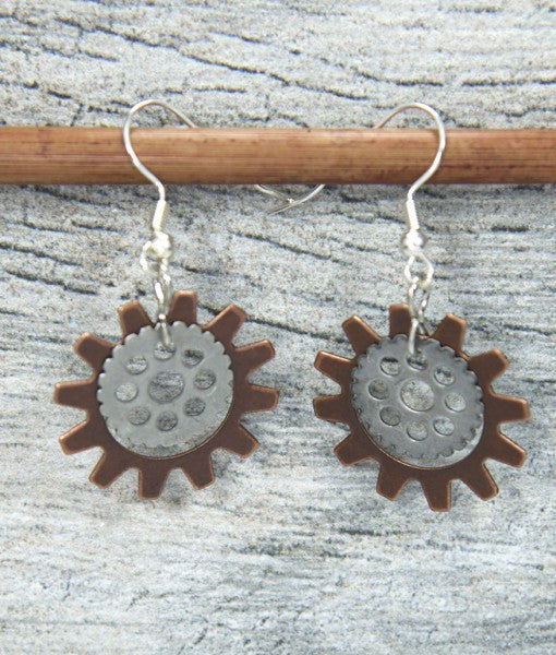 Sunflower Gearring Antiqued steel & copper by bici bits