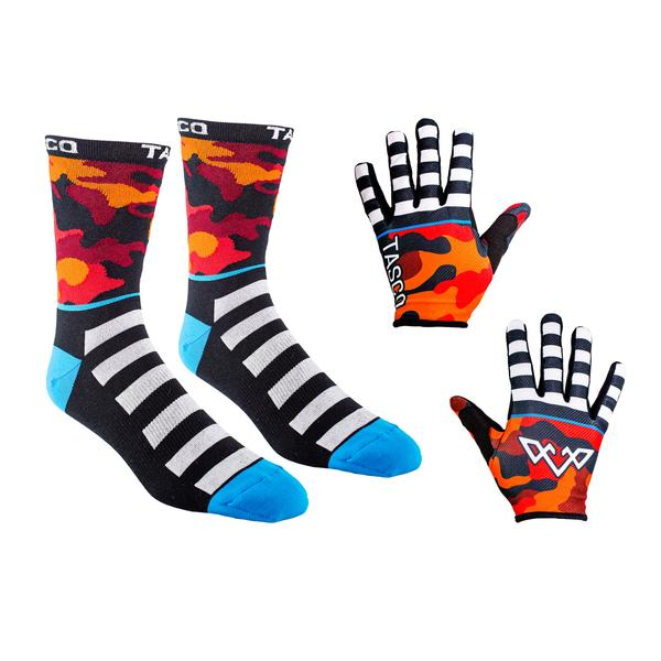 Double Digits Glove & Sock Kit - Red Camo by Tasco MTB