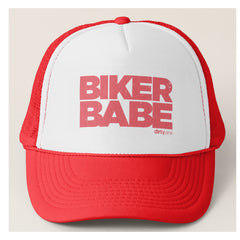 BIKER BABE - Red Trucker Hat by Dirty Jane