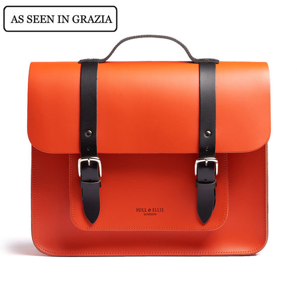 JASPER - Orange Satchel Bike Bag by Hills & Ellis