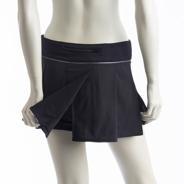 Kensington Pleated Skirt- Matte Black by Cogma