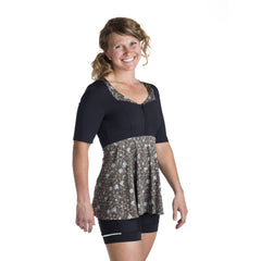 Leah Cycling Top- Black/Blue Floral by Cogma