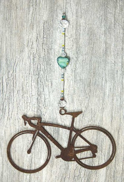Bike Love Sun Catcher - Aqua Road Bike by bici bits