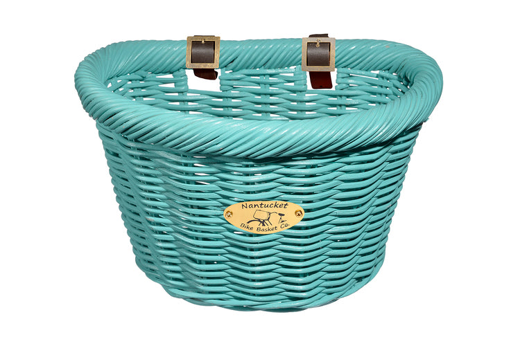 Cruiser Adult D-Shape Basket - Turquoise by Nantucket Baskets