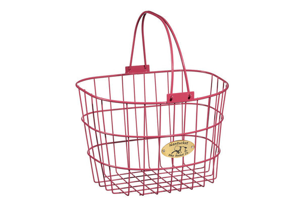 Surfside Adult Wire D-Shape Basket - Pink by Nantucket Baskets