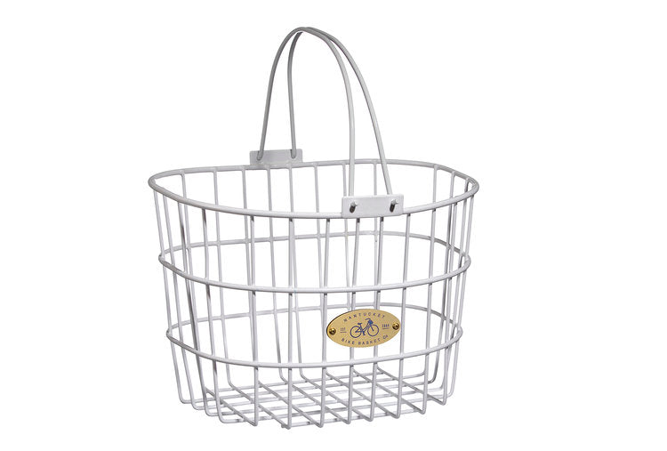 Surfside Adult Wire D-Shape Basket - White by Nantucket Baskets