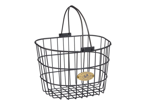 Surfside Adult Wire D-Shape Basket - Charcoal Grey by Nantucket Baskets