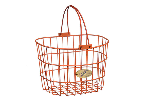 Surfside Adult Wire D-Shape Basket - Orange by Nantucket Baskets