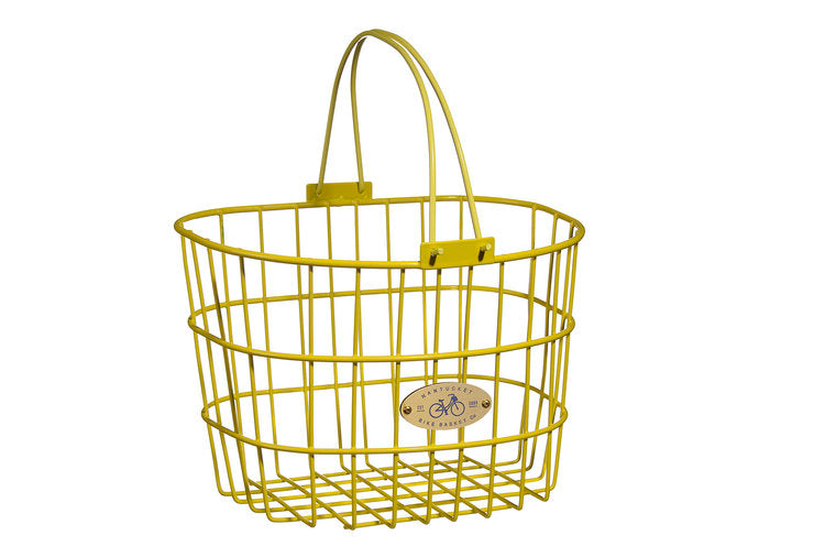 Surfside Adult Wire D-Shape Basket - Yellow by Nantucket Baskets