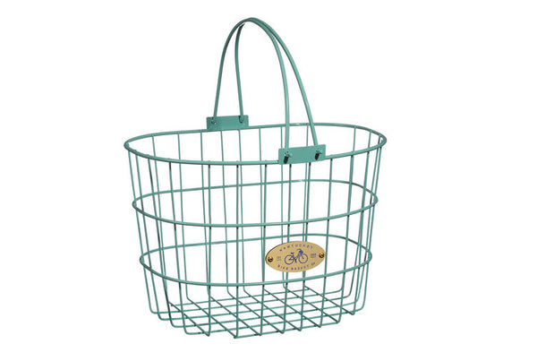 Surfside Adult Wire D-Shape Basket - Turquoise by Nantucket Baskets