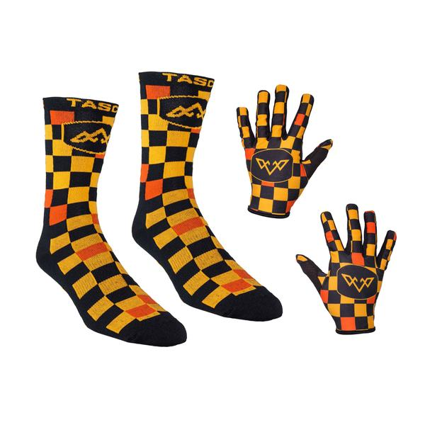 Double Digits Glove & Sock Kit - Orange Check Mate by Tasco MTB