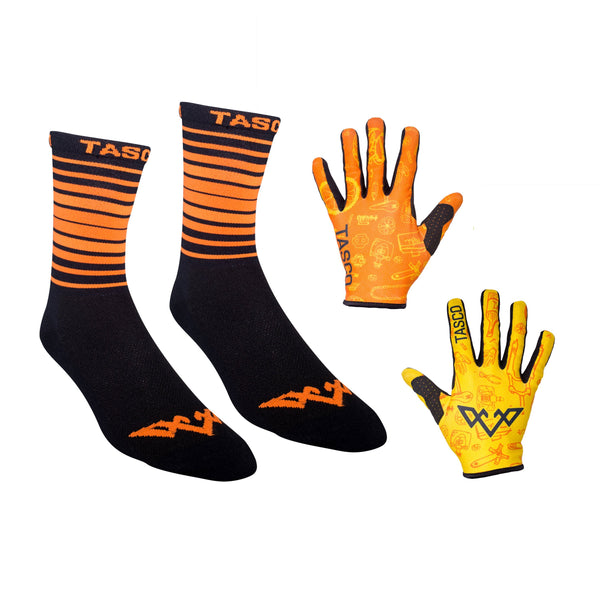 Double Digits Glove & Sock Kit - Orange Bike Bits by Tasco MTB