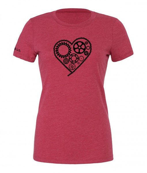 Women's Chain Heart T - Raspberry by bici bits