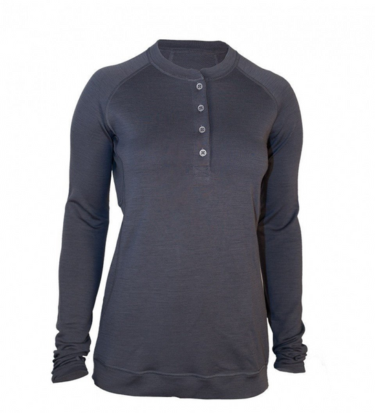 Women's Long Sleeve Bamboo Merino Sport Henley Shirt - Charcoal by Showers Pass