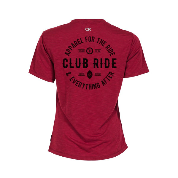 Artisan Crest Tech T-Shirt - Biking Red by Club Ride