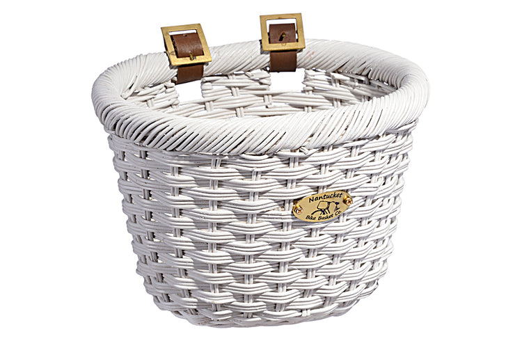 Cliff Road Adult Oval Basket - White by Nantucket Baskets