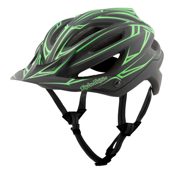 A2 Helmet Mips Pinstripe - Black/Green by Troy Lee Designs